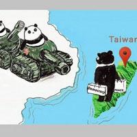パンダ乗った戦車と対峙する台湾黒熊 天安門事件30年、在外公館が風刺画